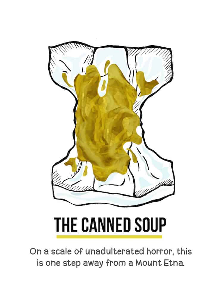 An illustration of yellow watery baby poop in a diaper. Below the illustration are the words, The Canned Soup. On a scale of unadulterated horror, this is one step away from a Mount Etna.