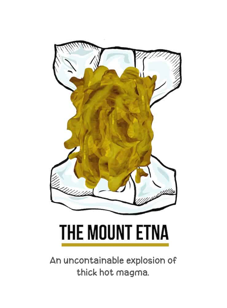 An illustration of a large amount of watery brown baby poop in a diaper. Below the illustration are the words, The Mount Etna. An uncontainable explosion of thick hot magma.