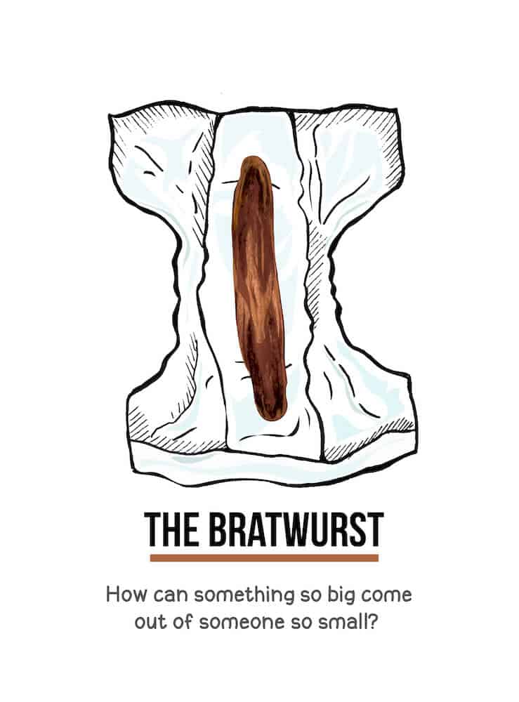 An illustration of a log of poo in a diaper. Below the illustration are the words, The Bratwurst. How can something so big come out of someone so small?