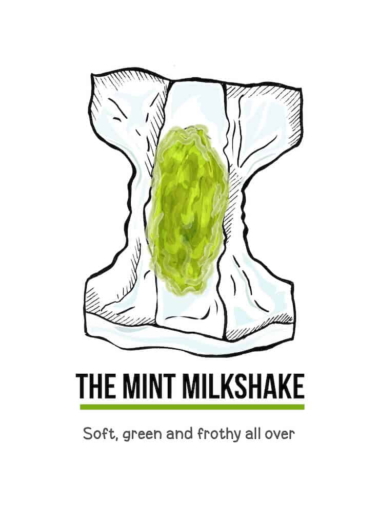 An illustration of green baby poop in a diaper. Below the illustration are the words, The Mint Milkshake. Soft, green and frothy all over.
