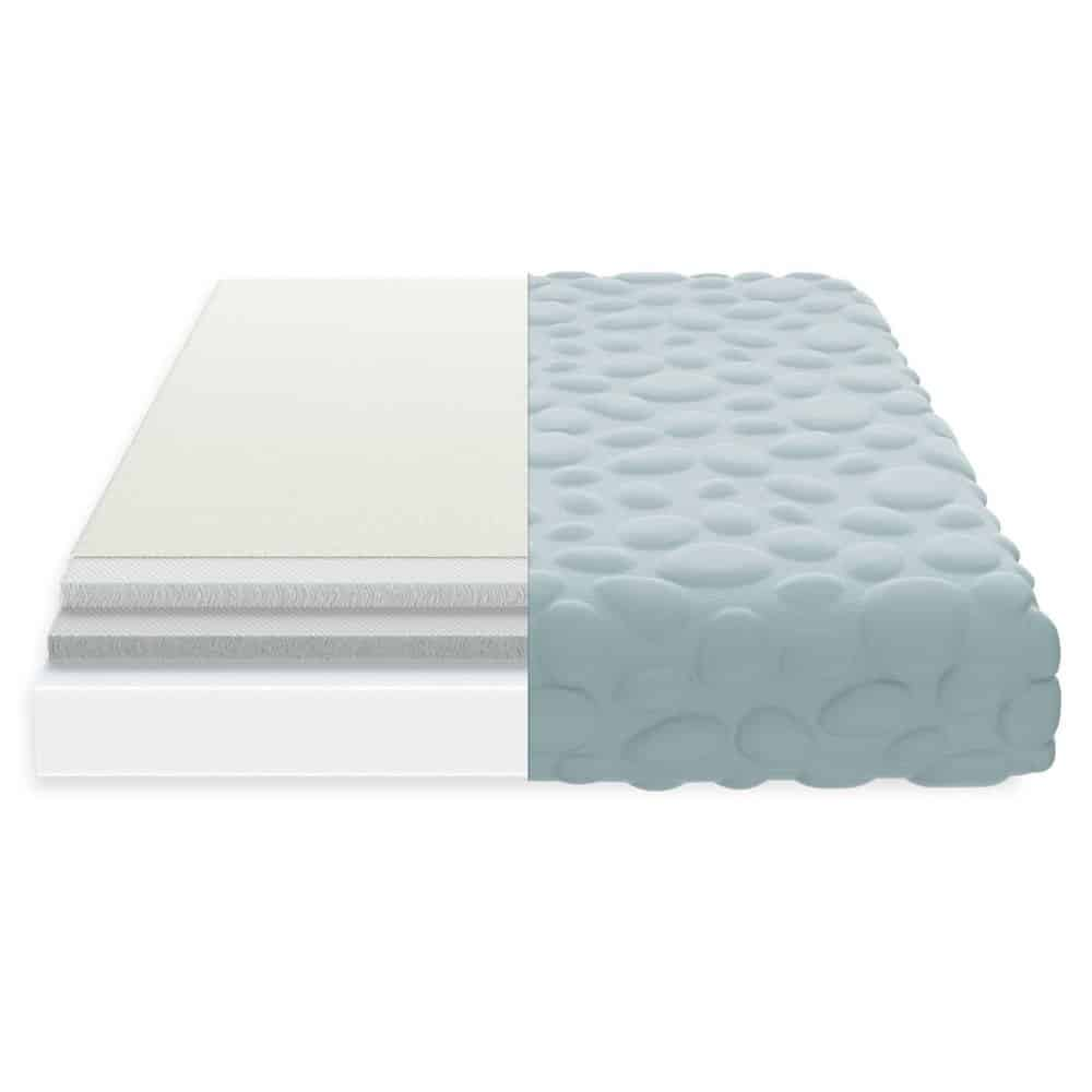 The Nook Pebble Lite crib mattress covered in the Pebble wrap in glass color