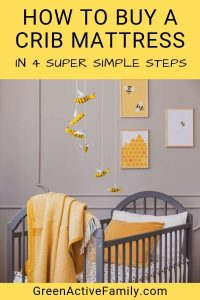 """A social media image with black text on a yellow background that says """"how to buy a crib mattress in 4 super simple steps"""" - there is an image of a grey and yellow nursery below the text"""