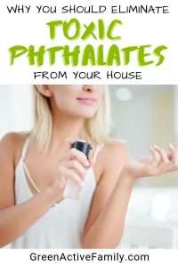 "A pinterest pin with the text, ""why you should eliminate toxic phthalates from your house"" with an image of a woman spraying perfume on her wrist."