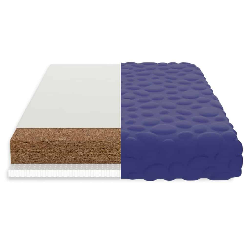 A cross-section of the Nook pebble pure mattress shows it is made of coconut coir,  natural latex, and wool wrapped in the Nook Pebble mattress cover.