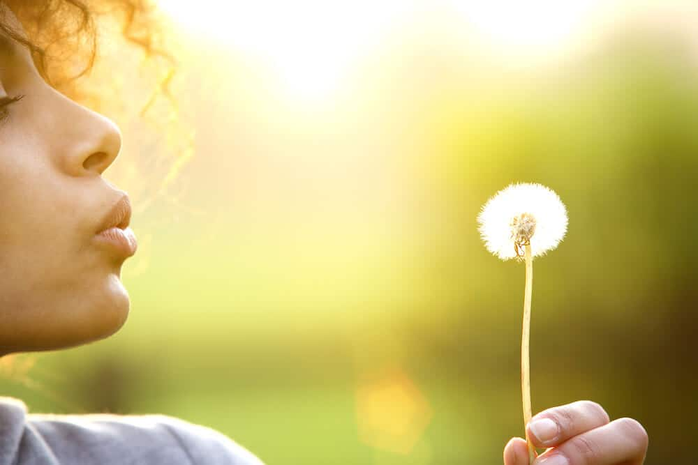 A young woman blowing a dandelion flower