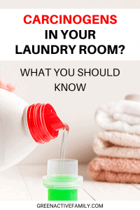 A Pinterest pin image featuring a photograph of a laundry detergent bottle and towels. There is text on the image that says Toxins in Your Laundry Room? What You Should Know.