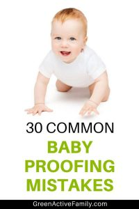 A pinterest pin with a crawling baby on a white background with the text 30 common baby proofing mistakes