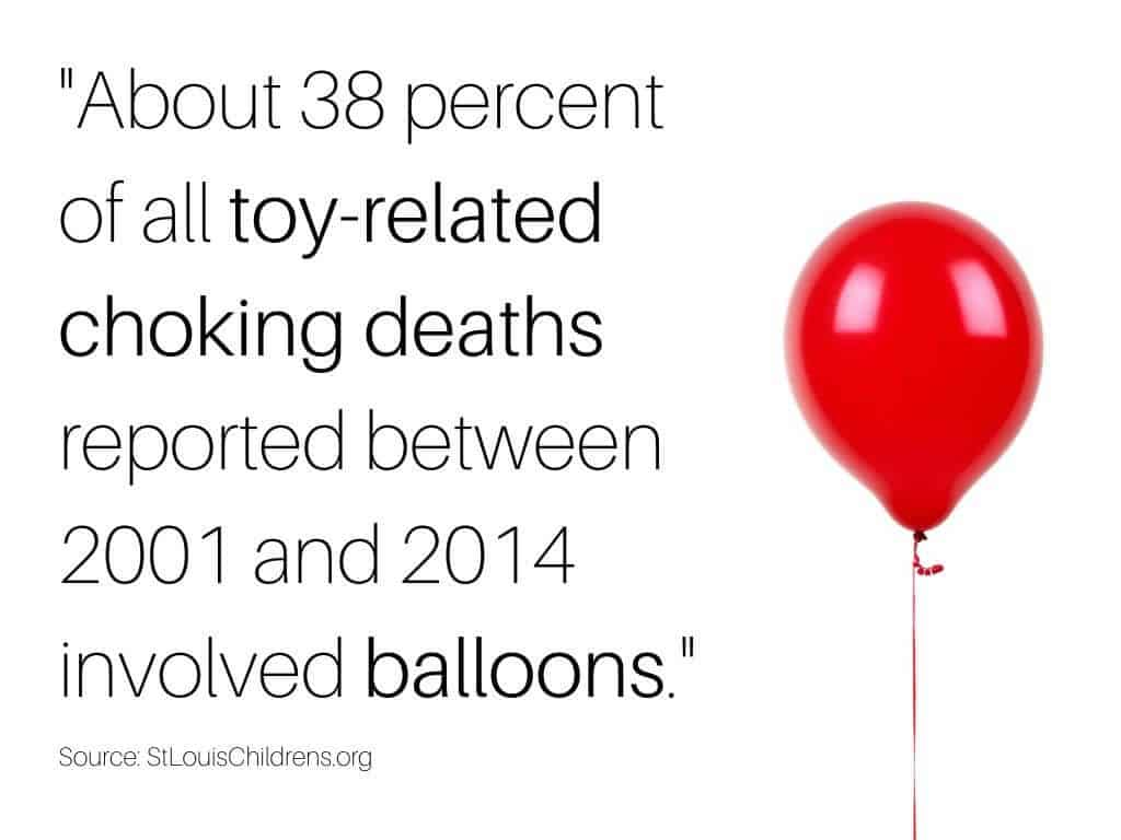 Letting a baby play with a balloon is a common child proofing mistake.