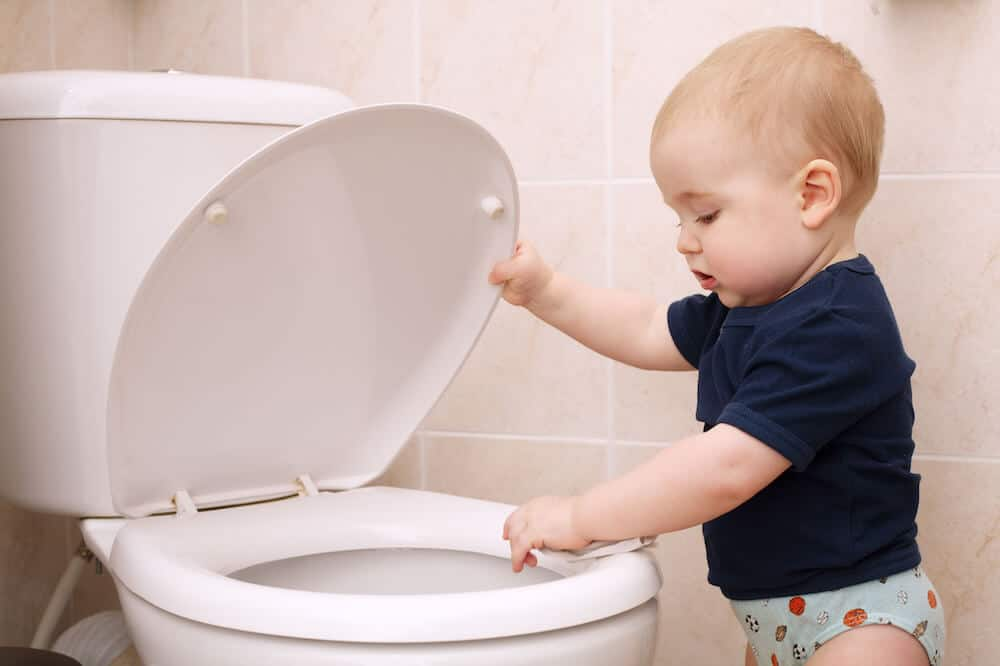 A toddler boy looks in a toilet. Not installing toilet seat locks in a common childproofing mistake