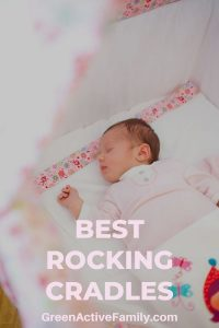 A pinterest pin with an image of a baby girl sleeping in a cradle. The text overlay says best rocking cradles.