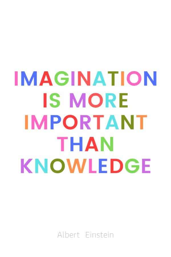 A pinterest pin with an albert einstein quote for kids written in colorful text on a white background. The text reads, Imagination is more important than knowledge.