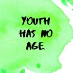 A pinterest pin with an inspirational Pablo Picasso quote for kids written in black text on a colorful watercolor background. The text reads, Youth Has No Age