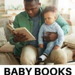 A Pinterest Pin showing a father reading to his young son. The text says, Baby Books for the 1st Year