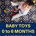 A pinterest pin showing an overhead photo of a baby playing with toys on a blue carpet. The text says Baby Toys 0 to 6 Months: The Best Toys for New Babies