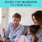 A Pinterest Pin showing a mother and father reading to their young daughter. The text says, Baby Books for the First Year. Books for Newborns to 1-year-olds.