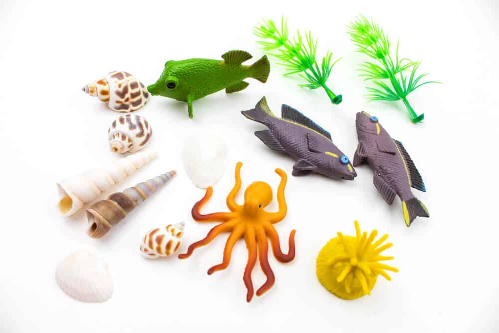 A shot of the materials to fill an ocean sensory bottle for children. The materials include plastic fish toys, plastic aquarium plants, and sea shells against an isolated white background.