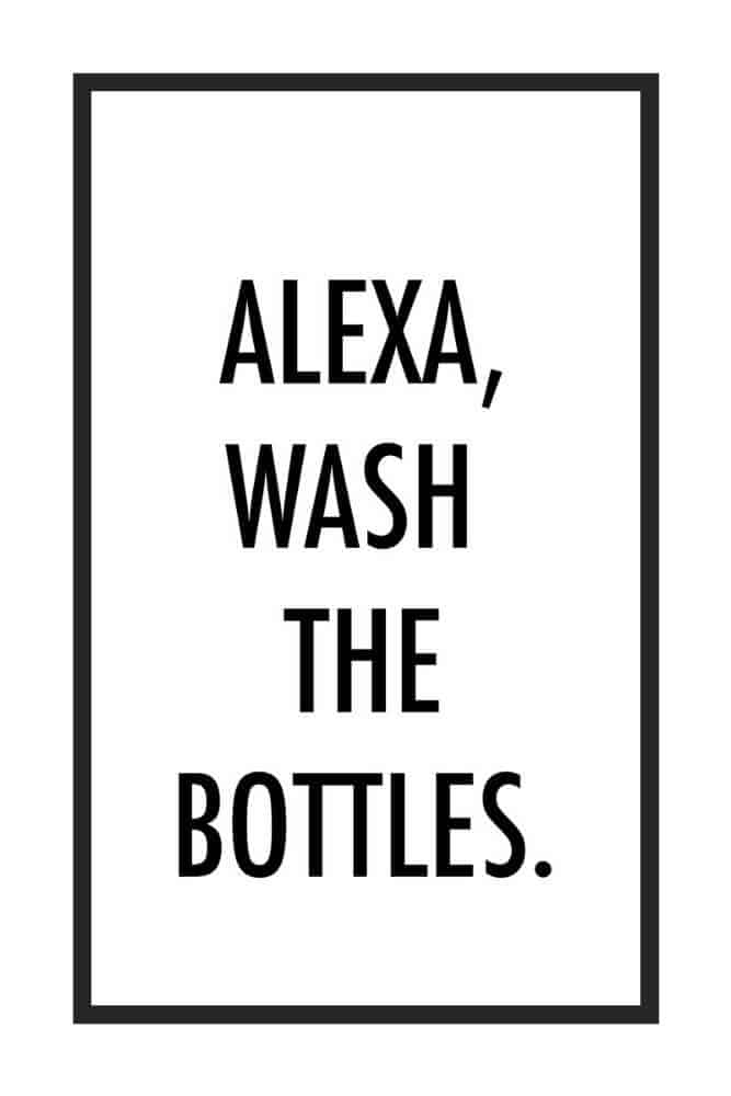 "A white poster with black, sans-serif text that reads, ""Alexa, Wash the Bottles."" in all caps. There is a thin black border around the text."