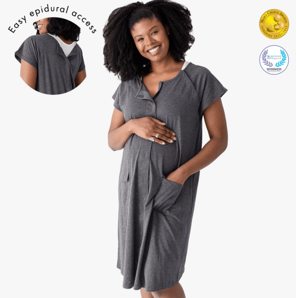 A product image showing the Kindred Bravely Universal Labour and Delivery gown on an African American model.