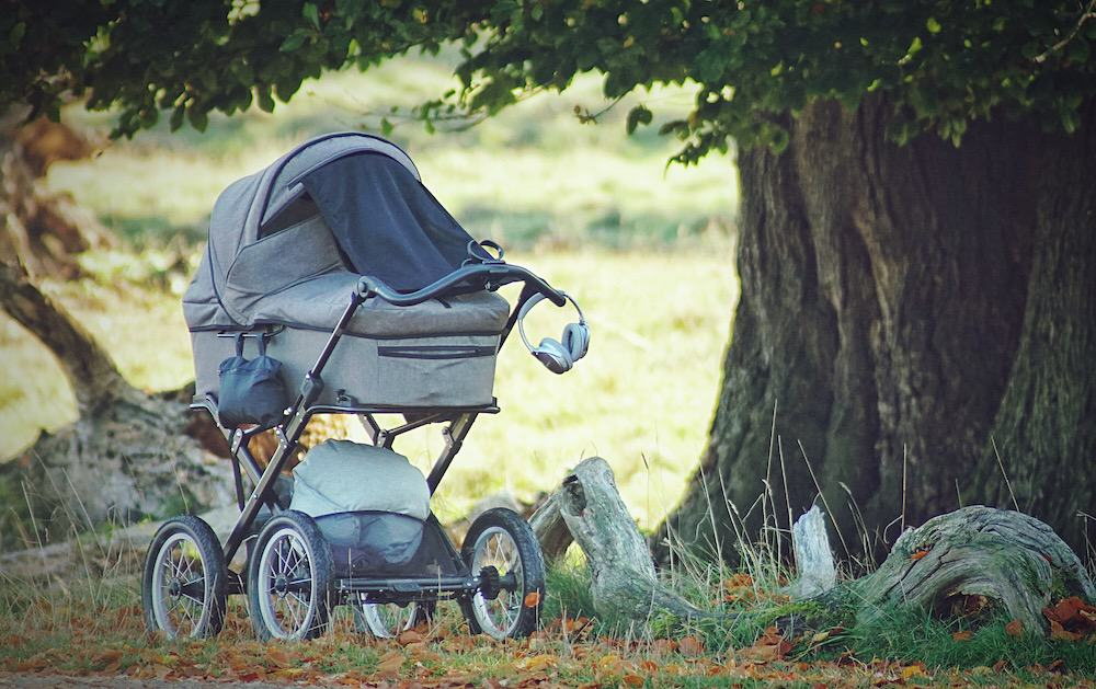 A baby stroller with sunshade under a tree